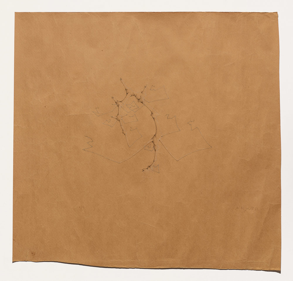 Willie Young, Untitled, 1981. Graphite on Found Brown Linoleum Paper, 39 x 41.5 in. Price on Request Reference 1983