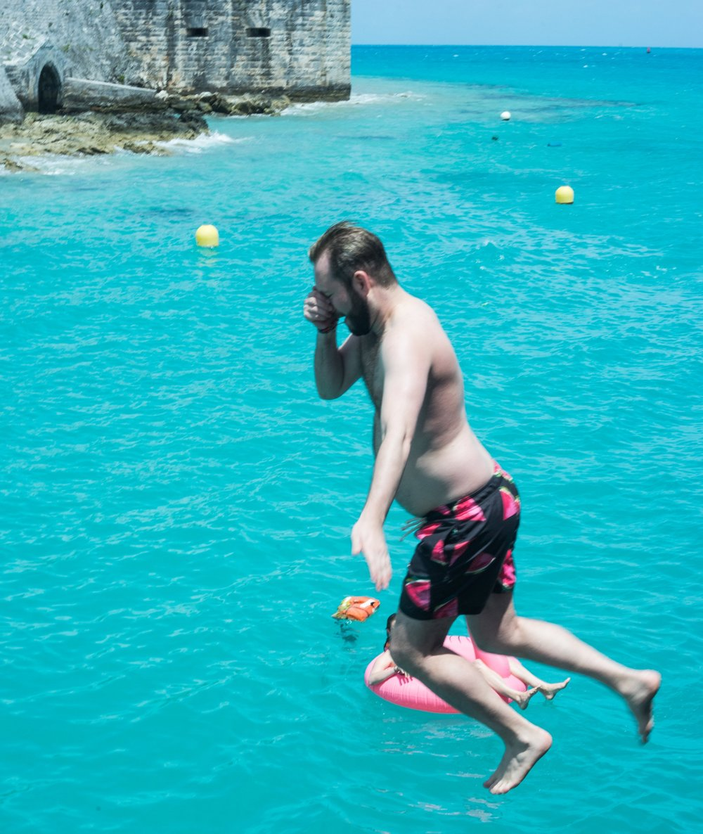 Rob, jumping off the plank at Calico Jacks