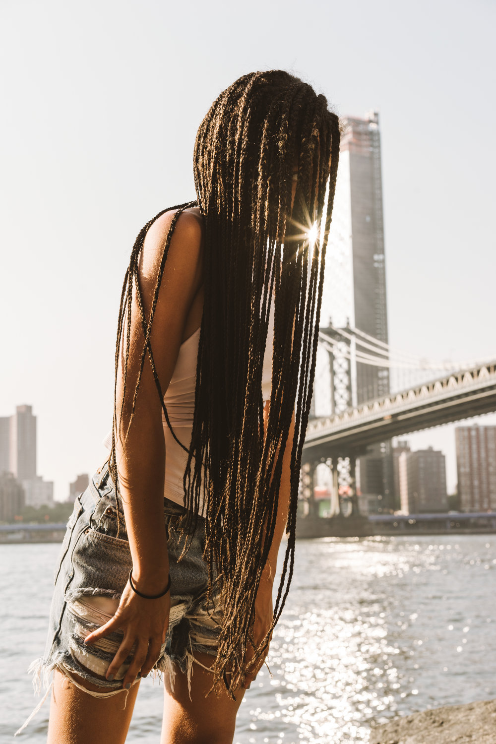 Michelle McSwain Photography Portraits Braids New York Brooklyn Bridge African-American Female