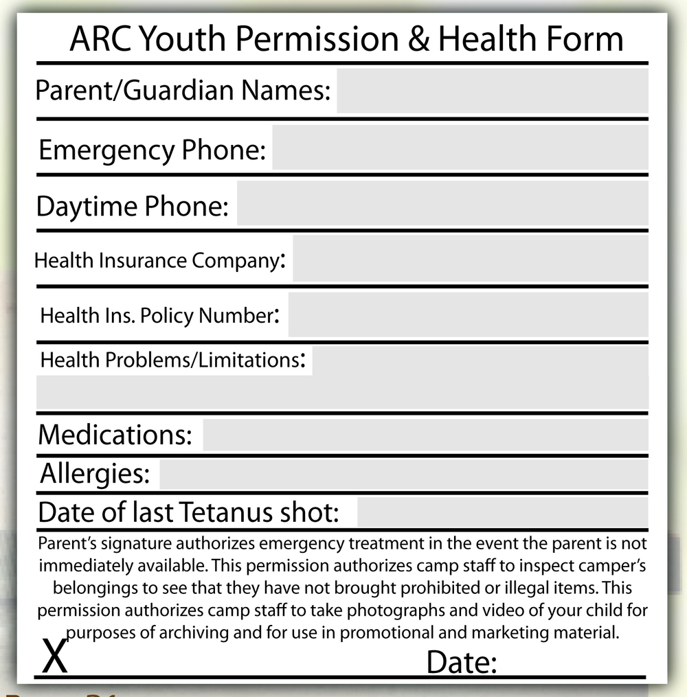 All youth attending a Camp without a parent or legal guardian must fill this out!