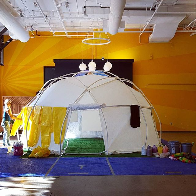 Check out our most updated version of the #Paint #Dome !! We upgraded the hazard suits to include sealable zippers for extra leak protection ;) no paint is getting through those bad boys!! #paintparty #happyhour #painting #chill #sunshine #abstract #teambuilding #sf #soma #beyondcanvas #sanfrancisco