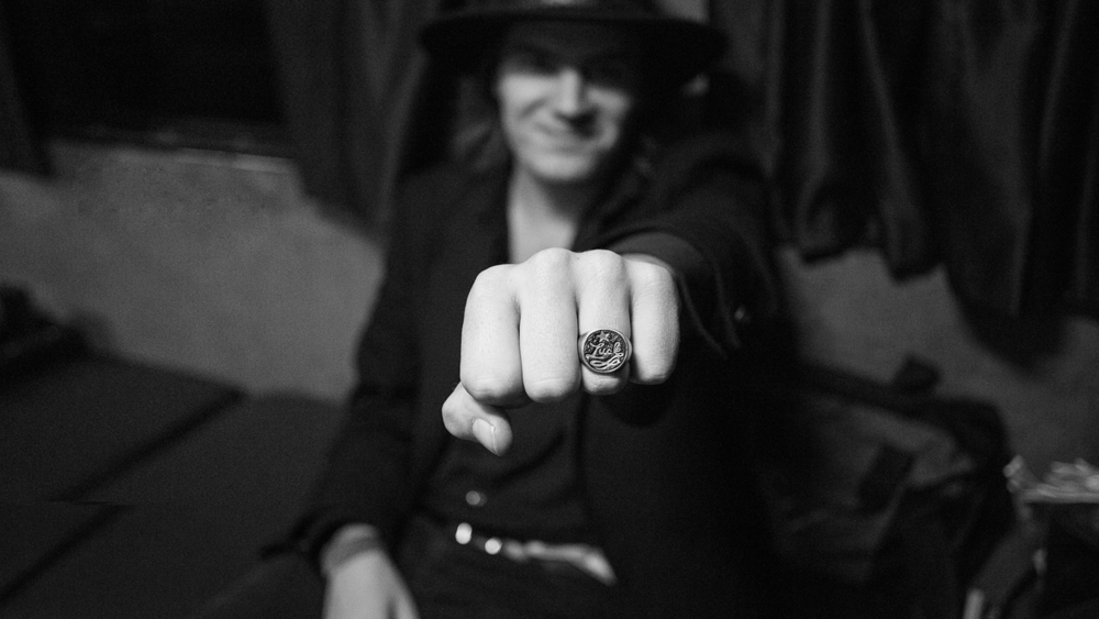 Dylan Showing off his #LuckFamily ring created by @makerandsmith Photo By: Joy Jacobs
