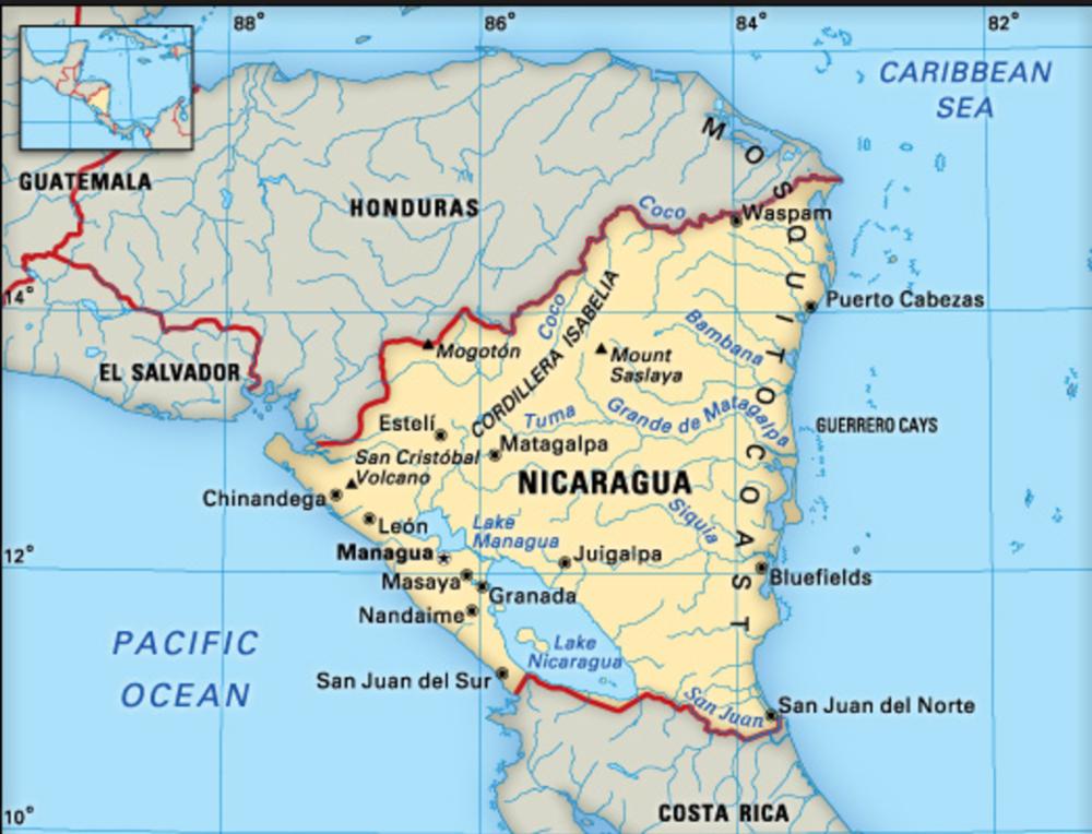 map nicragua