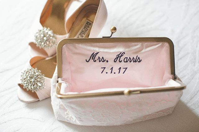 Personalize your clutch with your name and date! And then match it to your shoes ;)