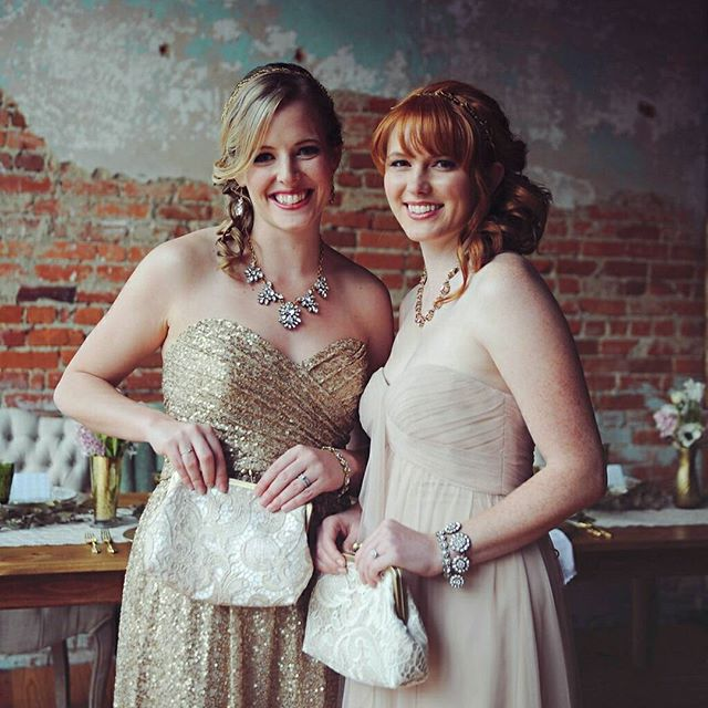 Gold and champagne lace clutches, modeled by these beautiful ladies! Featured on @glamandgrace Clutches: @juniperandlace Venue:  @crossandmain Photos: @sarahmorrel Florals:  @brandisbotanicals MUA: @perfectionbypatricia Rentals:  @greenhousepickersisters Stationary:  @ivy_and_ink Jewelry: @gemmajewelsshop Dresses: @Bellabridesmaids  @amsalebridesmaids @acutedesigns Cake: @sugareuphoria