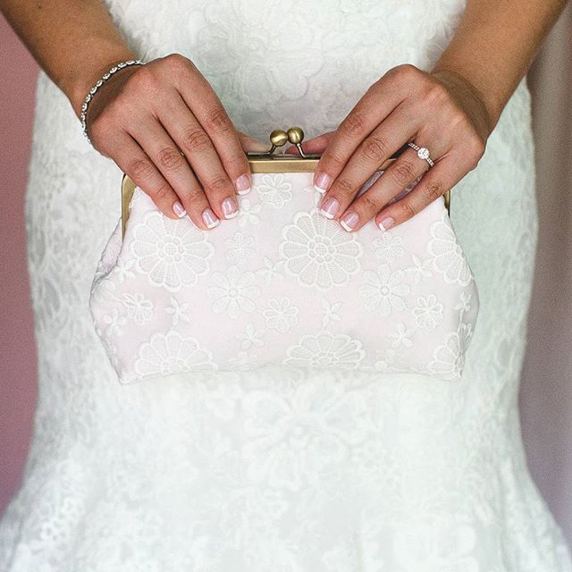 I LOVE custom orders!  Amanda chose matching vintage-style lace clutches for her bridesmaids, but chose for hers to be in pink! So cute!