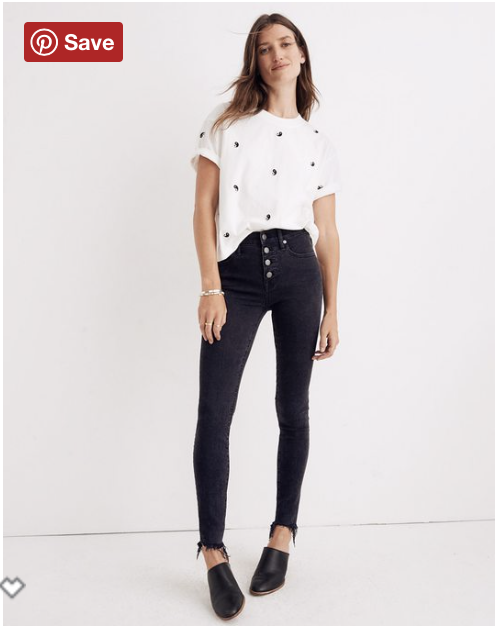 I bought these - They were still a splurge but the button front jeans are my go-to! Originally $135, around $101 with the code!