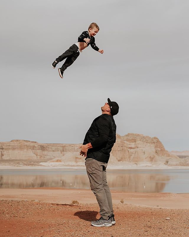 "My dudes ��� Sometimes going places with a 2 year old is hard work. We had to hike a stroller in to Horseshoe Bend over boulders and through a mile of sand in order to have a safe place to keep Maddux while close to a cliff. We've had to listen to Baby Shark on repeat in the car for hours because he was antsy. We've had to clean spilled milk, Diet Coke and a bag of tortilla chips up in hotel rooms because of toddler spills. Enough hard things have happened that the question must be asked - is it worth it? • • Last night I got caught up looking through my camera roll. I saw photos and videos of Maddux at Niagara Falls, in Washington DC for the cherry blossoms, in Bar Harbor for his birthday and in NYC more times than I could count. I saw him laughing at puppies and playing on the beach. I saw him saying ""wow wow!� over and over again watching the water dance in front of the Bellagio in Las Vegas. I've seen his face light up so many times, and in turn felt my heart swell up so many times because I travel with my toddler. It can be tough, but I am a better mom because I travel with my toddler."
