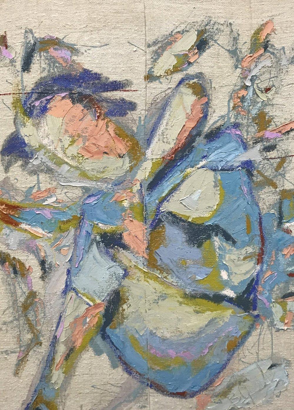 29 x 39  oil on vintage feed sack
