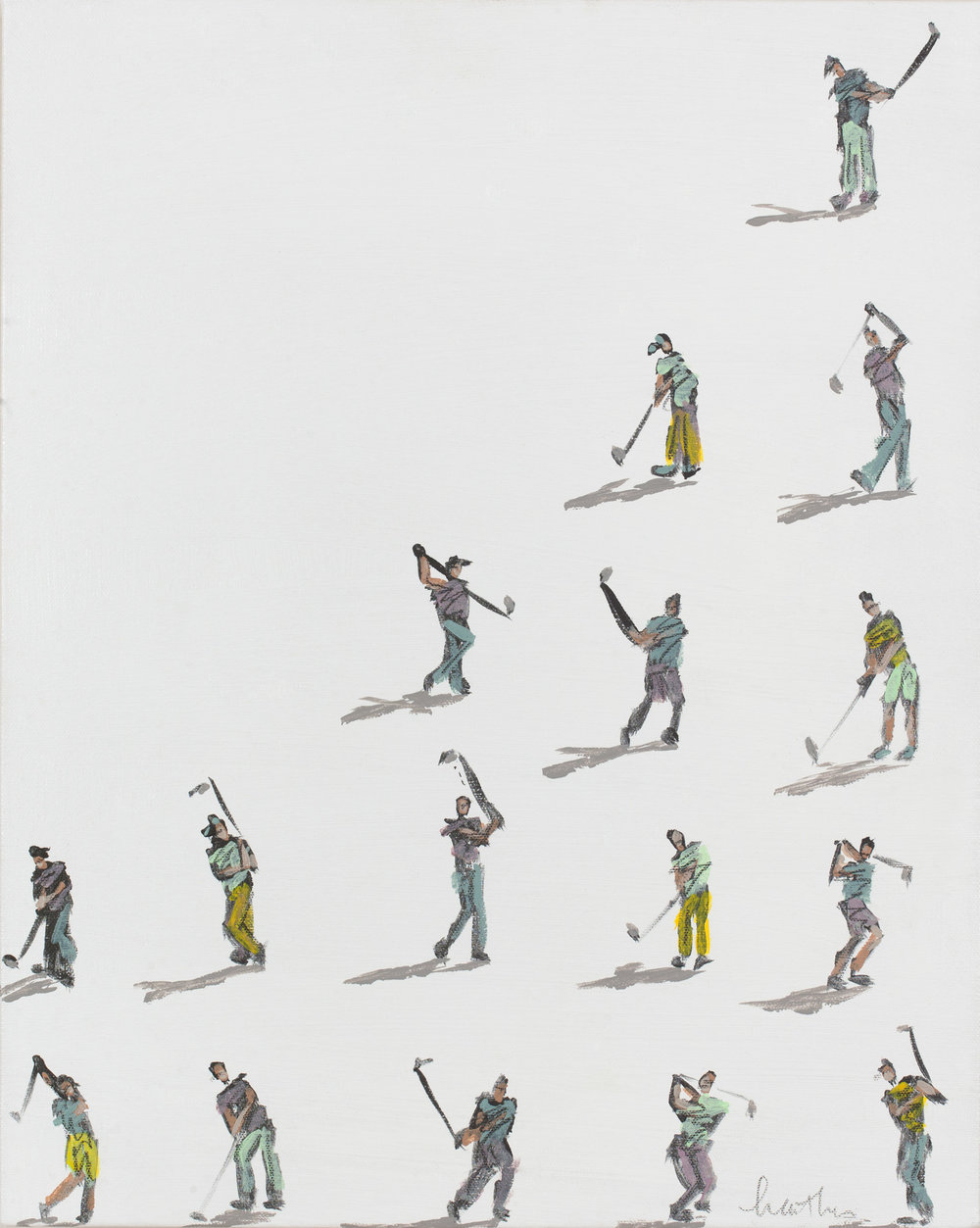 Golfers On White with Shadows