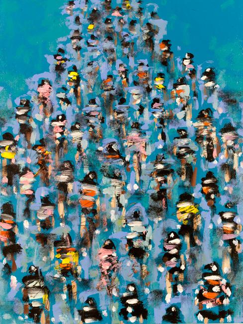 Blue Cyclists Peleton