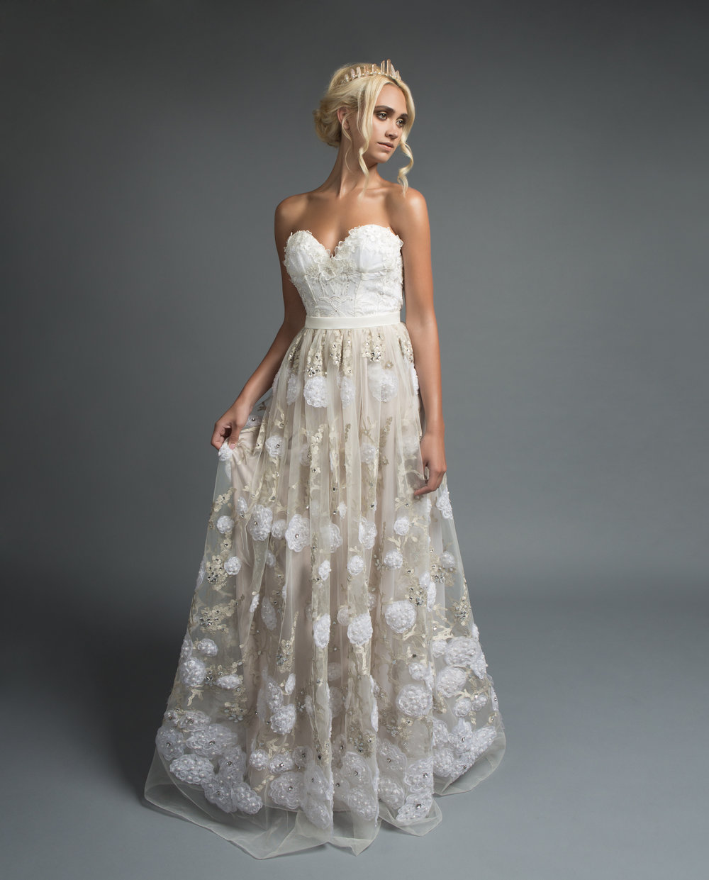 April bustier and Eden skirt from Victoria Spector Bridal Couture and Amelia Rose Quartz crown from Kata Banko Couture