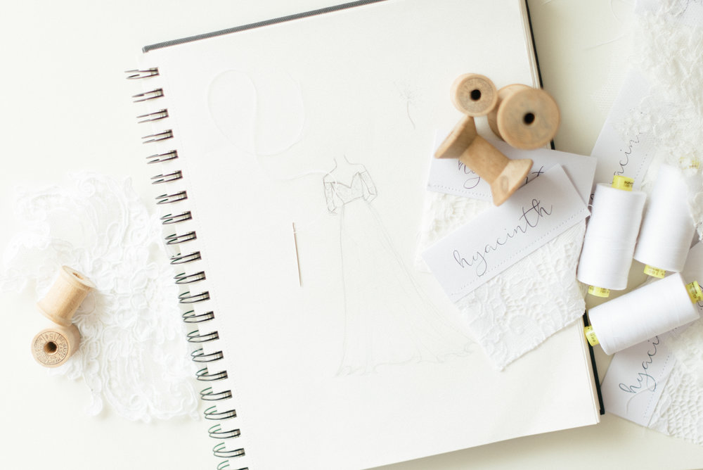 Here is an example of branded flat lay photography from our client,  Hyacinth Bridal