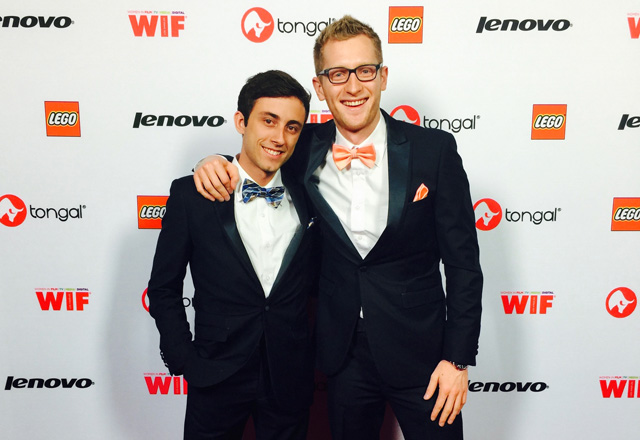 Eric McCoy and Justus Meyer at the 2015 Tongie Awards in Los Angeles