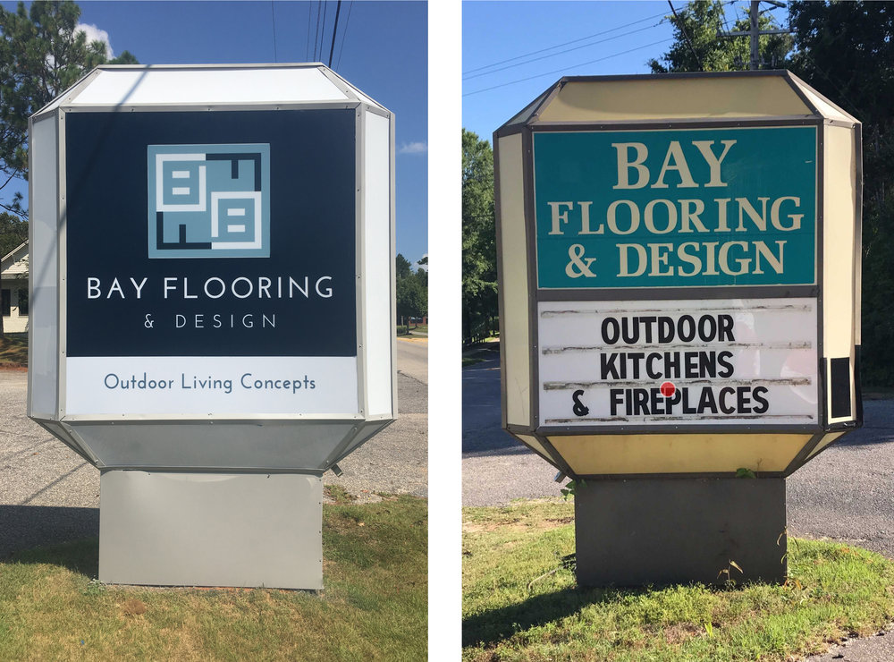 Talk about a sign transformation for Bay Flooring & Design on North Section Street in Fairhope! When it comes to my design work, there's nothing more fulfilling than creating and transforming a brand to represent the true identity and personality of a client. Very honored to help Bay Flooring do just that.   I was thrilled when I received an email from them last spring, mainly because I enjoy driving by pretty signage too, and this eyesore had stood out to me for YEARS. Their sign was grandfathered in decades ago. Rarely do you see a sign this large and close to the street, on such a busy street in downtown Fairhope.