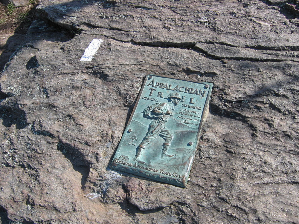 The first AT blaze and plaque on Springer Mountain, Georgia