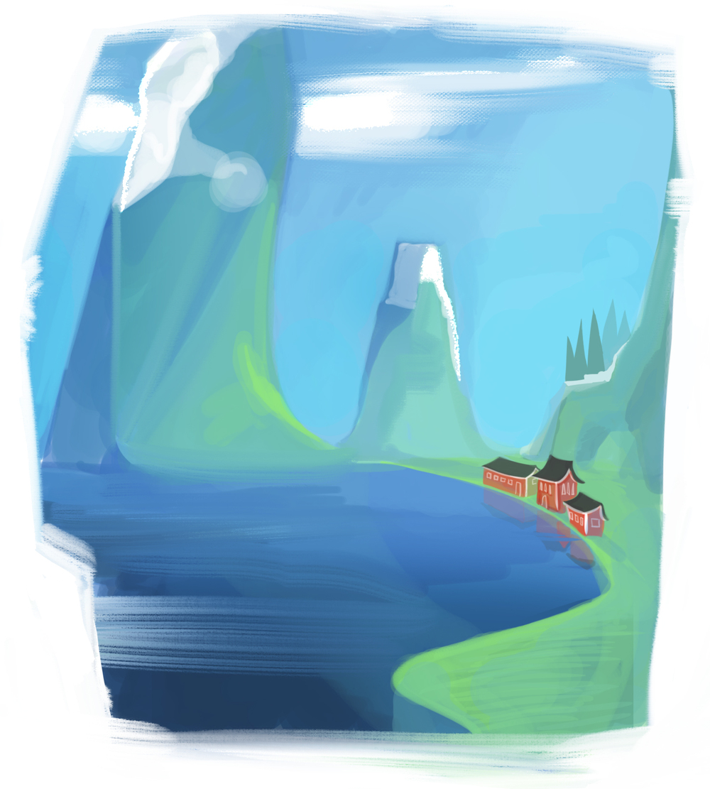 Scandi mountain concept art