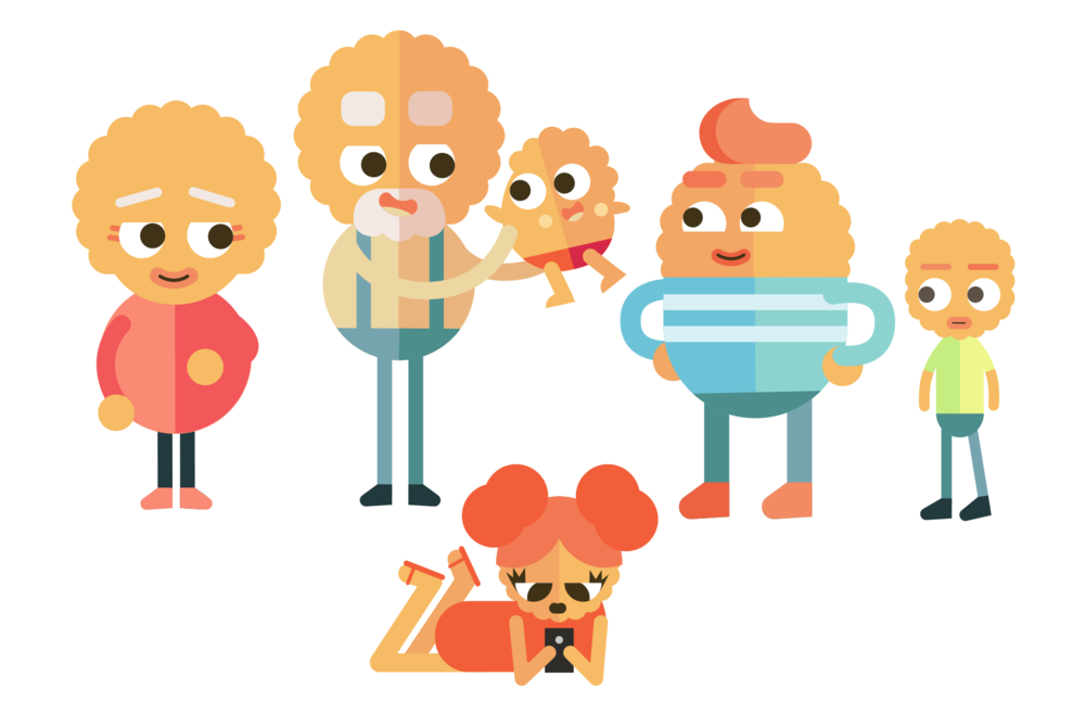 Flat character family