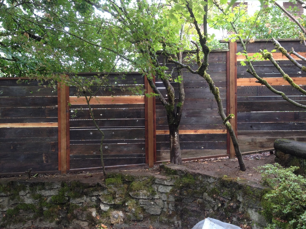 Reclaimed fence boards from old fence put right back into new fence.