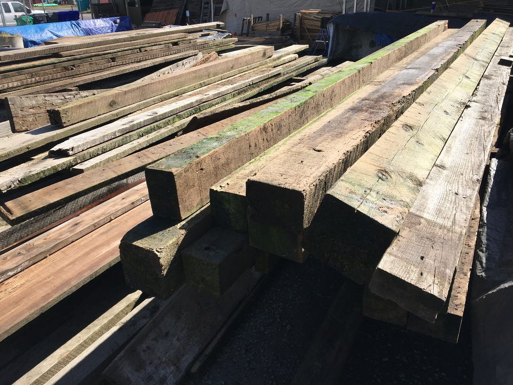 Stack of lovely barn timbers at Salvage Works in Portland.