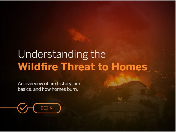 Click here for eLearning - Wildfire Threat to Homes