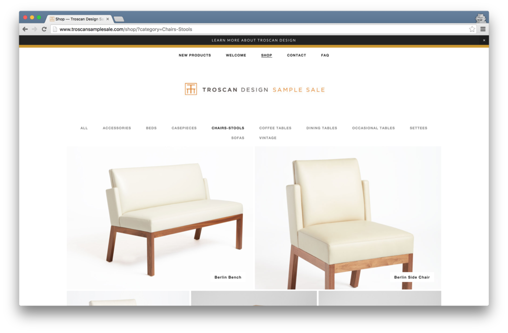 Fully Responsive Sample Sale Site for Troscan Design