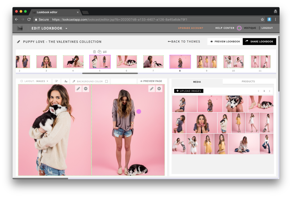 LC is a SaaS platform where users can easily create, share and track beautiful digital lookbooks. Here you can see the heart of the app, the lookbook editor.