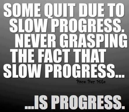 some quit due to slow progress, never grasping the fact that slow progress is still progress