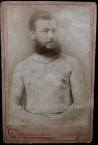 Tattooed by Martin Hildebrandt. This image is from an original cabinet card in the Daredevil Museum collection.