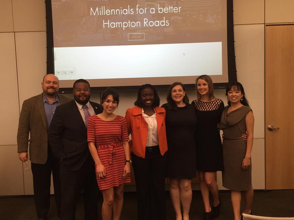 Advisory Board member Dr. Callahan, Shapers Joe Dillard, Elizabeth Rubi, YGL Eunice Cofie, Shapers Claire Wulf Winiarek, Karen Hopkins & Bo Ram Yi.