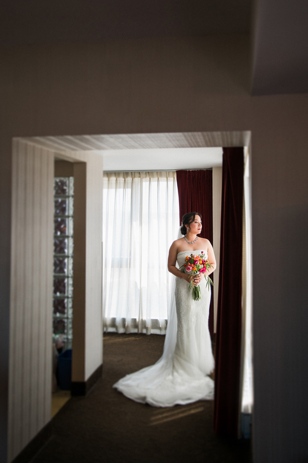 Wall Framed Bridal Portrait with Window Light