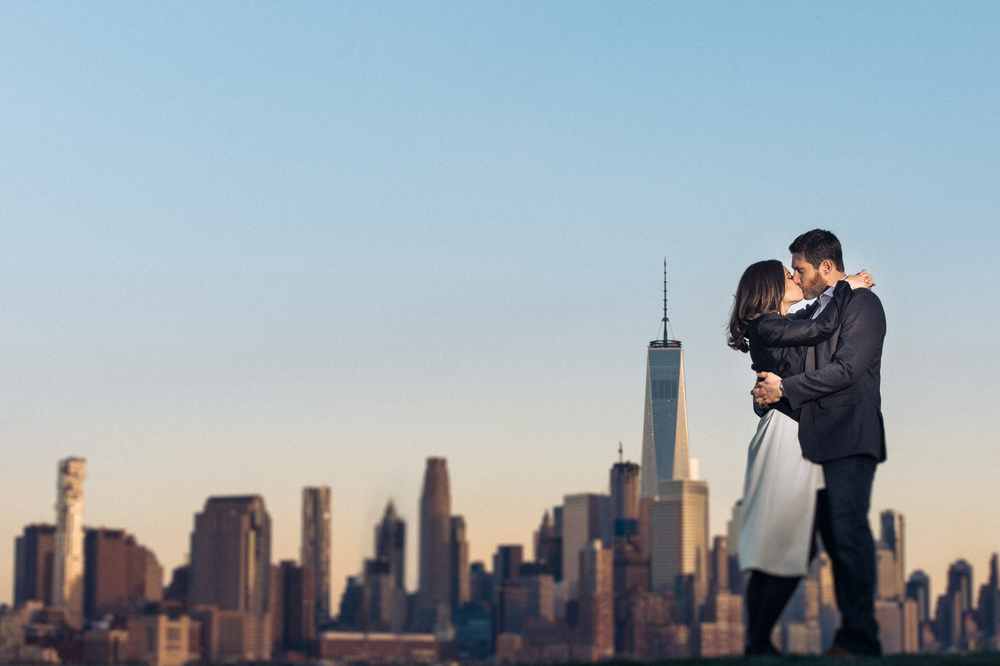 Embracing within the Manhattan Skyline