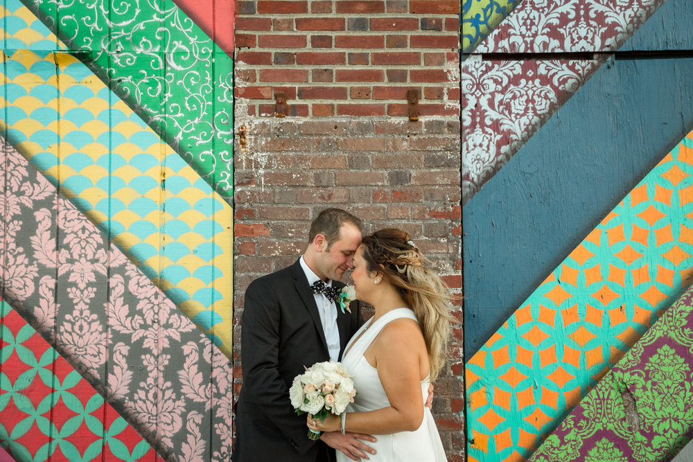 Wedding Portrait Within A Wall Mural
