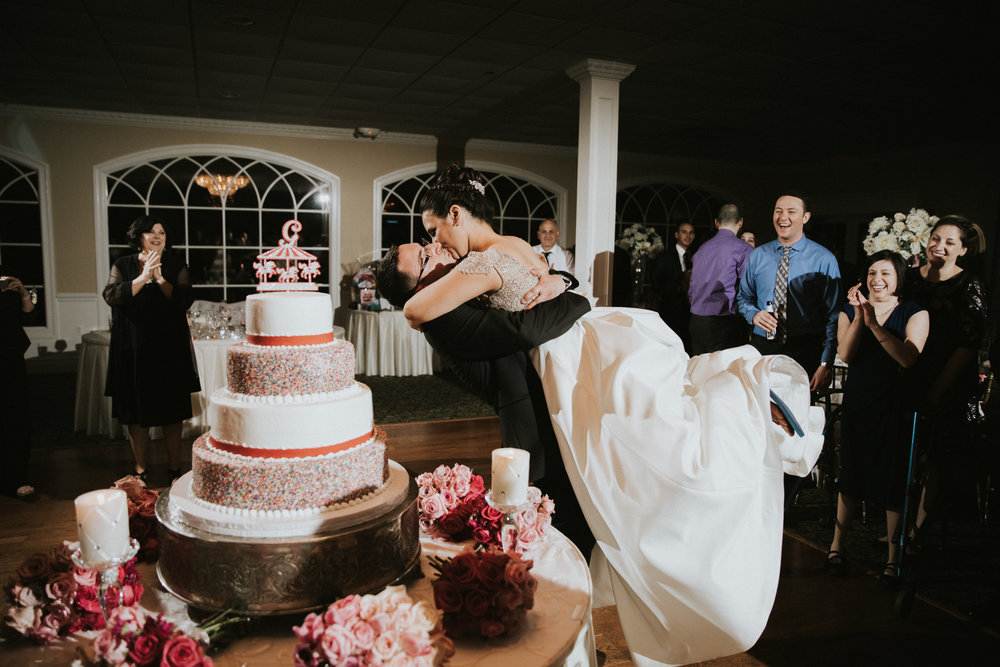 Kiss during the Cake Cutting at The Bradford Estate