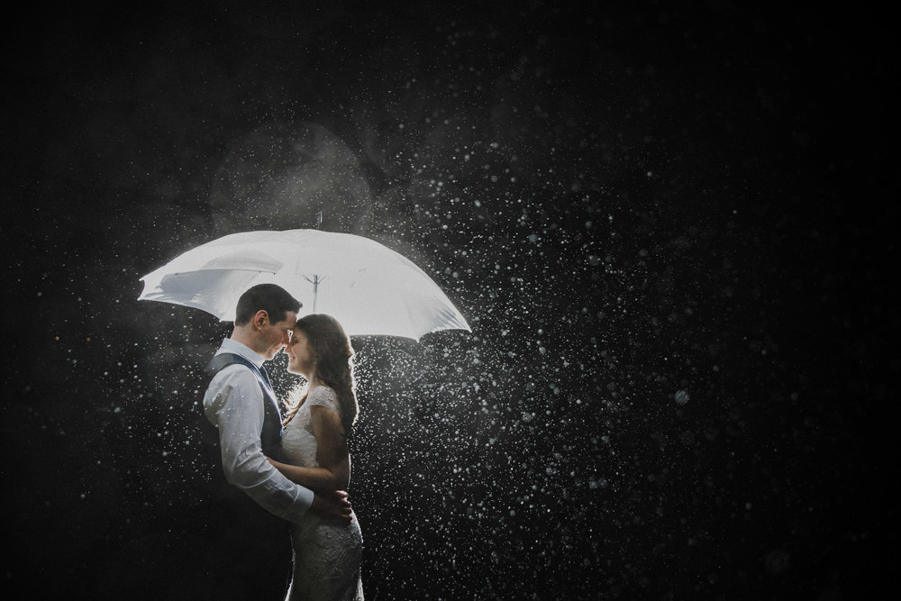 Rainy Day Portrait of Bride and Groom