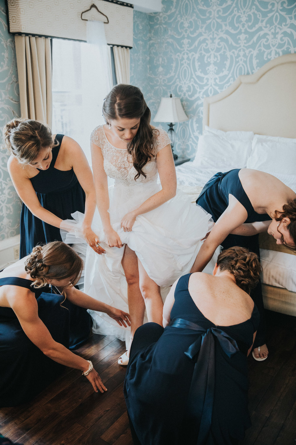 Bride and Bridesmaids during Bridal Prep