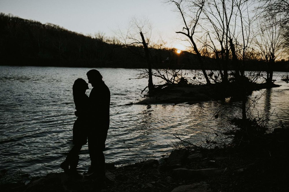 Delaware River Silhouette Engagement Photo