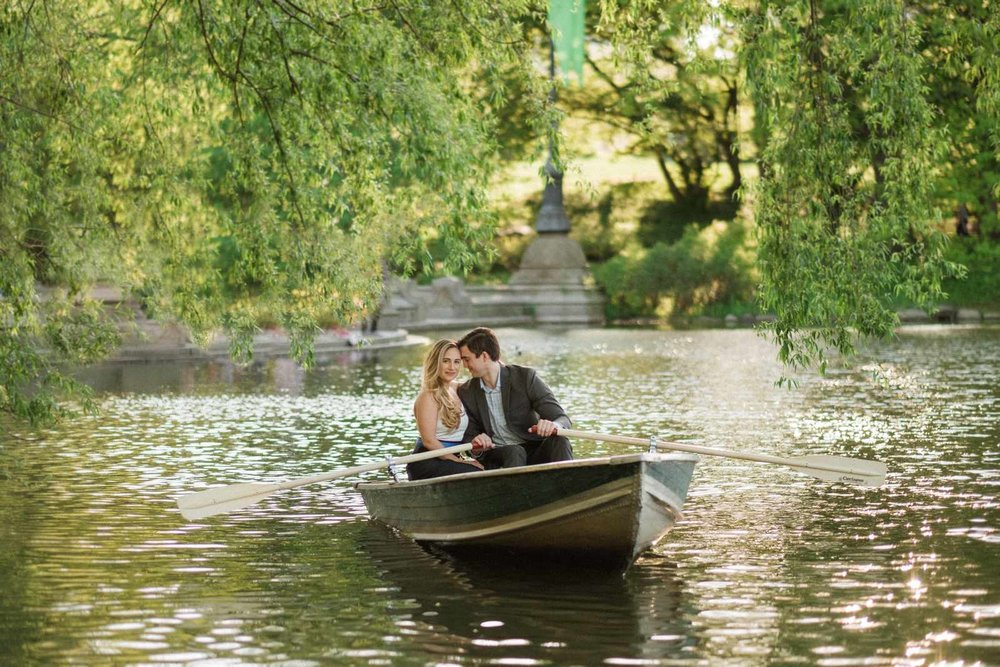 Row boat lake engagement session