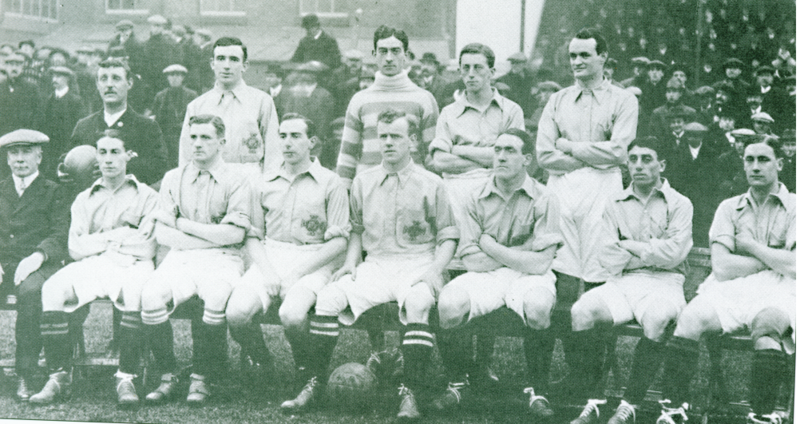 Ireland's 1914 British Home Championship side, featuring Patrick O'Connell (back row, far right).