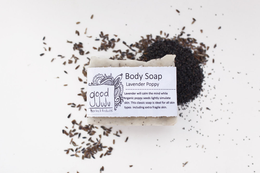 "Made with a rich formula of olive oil and Coconut oil with additives of Shea butter, Vitamin E oil and poppy seeds (for a light exfoliant) this soap says ""Hey (Insert woman in your life), you are a badass babe and deserve to have the best showers and softest skin ever!"" Scents that you can't go wrong with: Lavender Poppy, Lemongrass or Cinnamon Oatmeal. ($7)"
