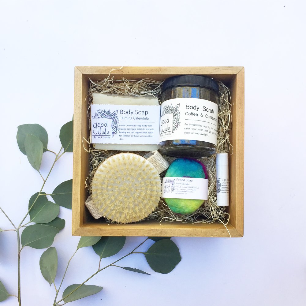 This Soap Bath + Body Set comes with your choice of soap bar, your choice of felted soap, a natural body brush, one Shea butter lip balm and a scrub of your choice. ($45)
