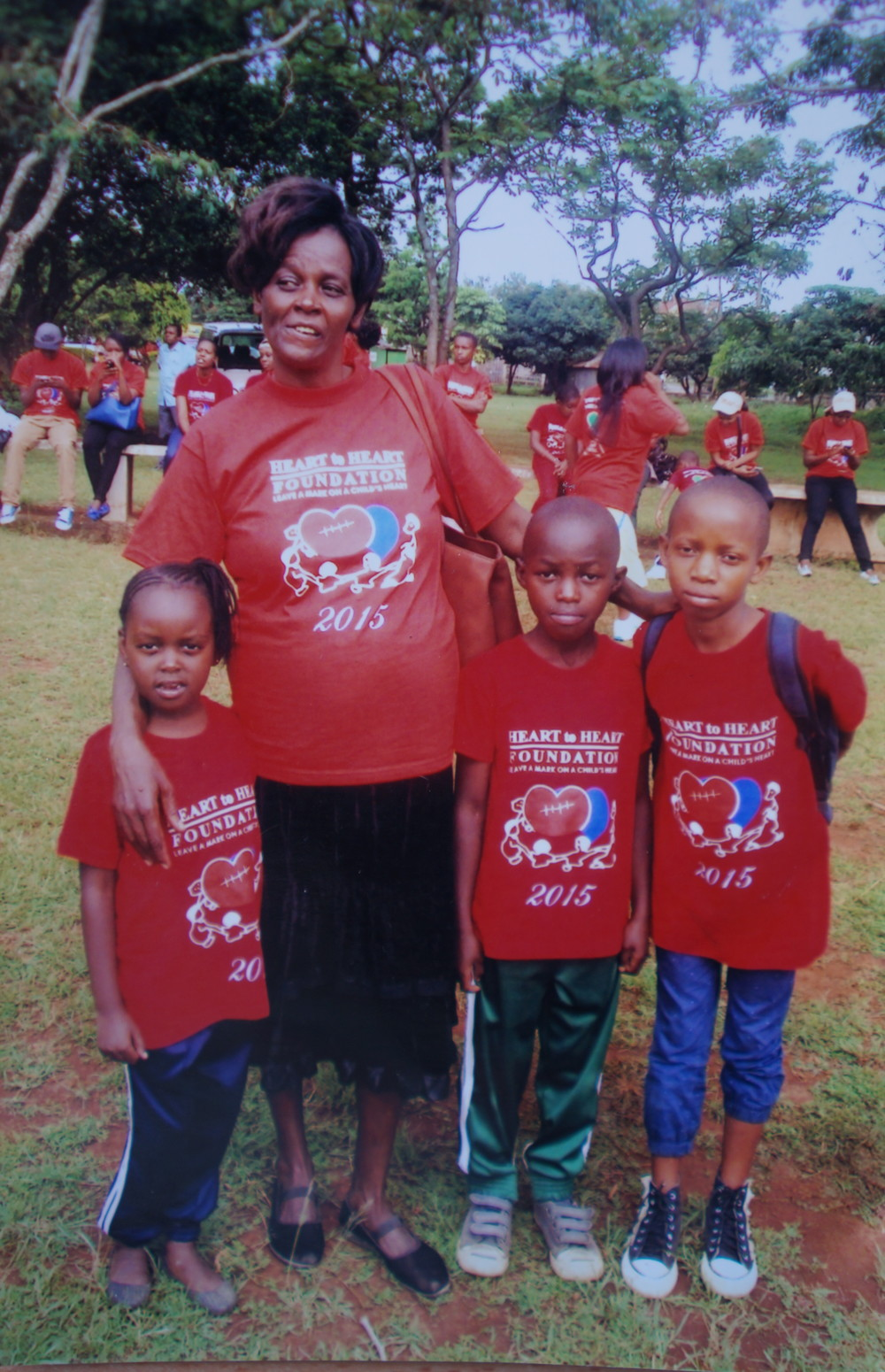Jecinta with three children she fundraised for