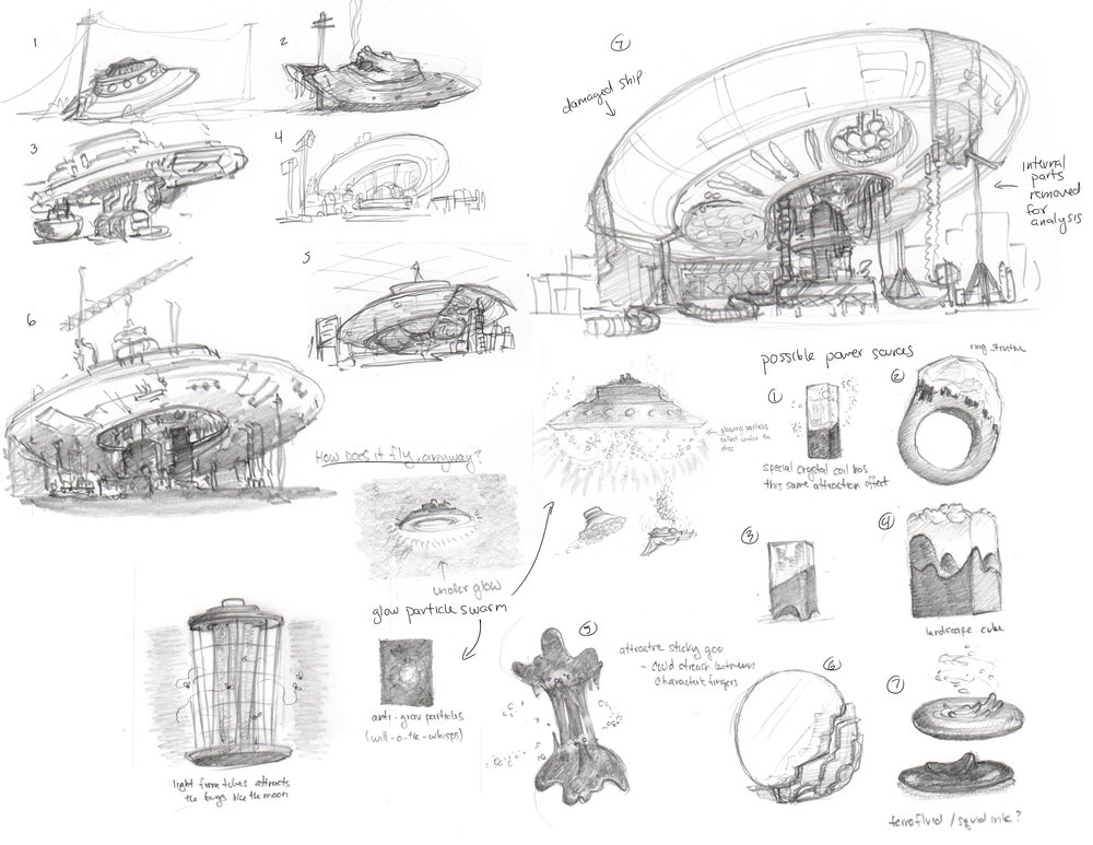 Some views of the spaceship in various partial states of dismantle.