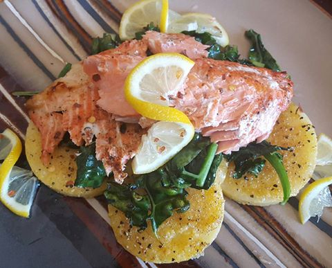 Salmon with spinach and polenta