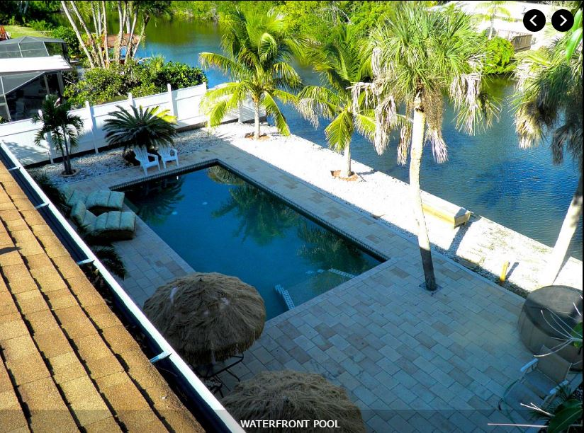 One of the houses at Siesta Key. waterfront pool view.