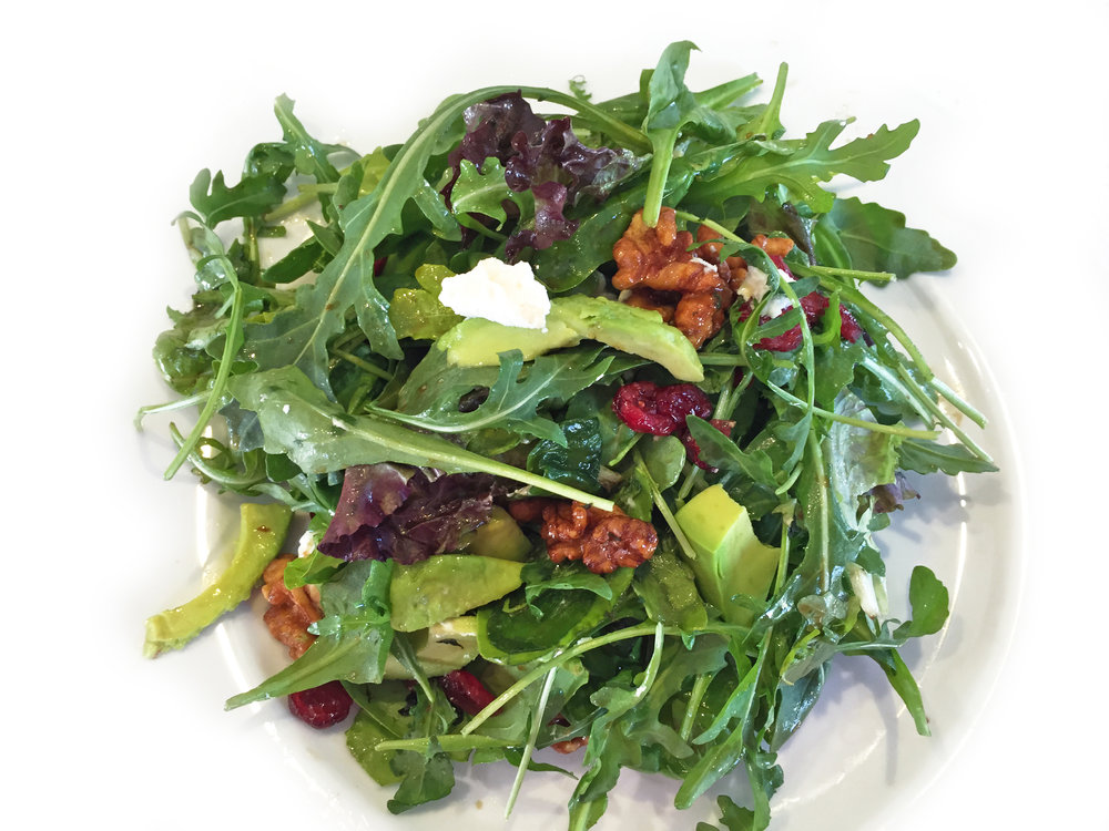 Salad,veggie - arugula with goats cheese, cranberreis & pecans.JPG