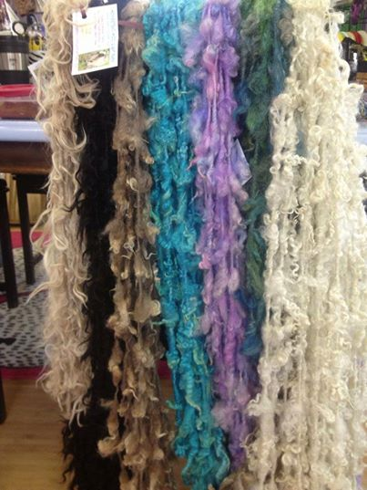 Beautiful tailspun 'lock' yarns from Sandy Ryan at Homestead Wool and Gift Farm always in stock! (www.homesteadwoolandgiftfarm.com)