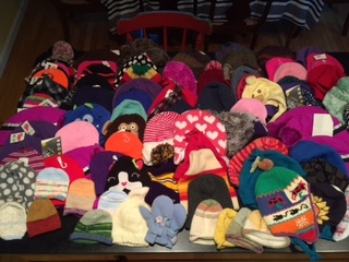 Hats for Nepal collection by Rhonda Levine- several hats made by MadWool knitters!  Thank you so much!!