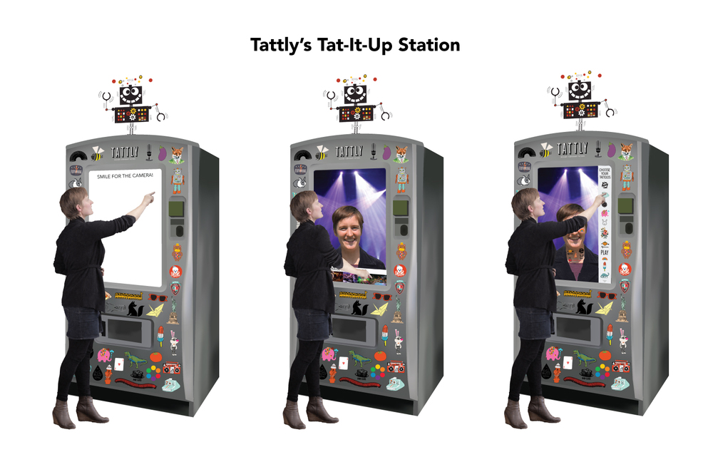 Tattly's Tat-It-Up station serves allows users to take a picture of themselves, add a cool background and virtually try on some of Tattly's temporary tattoos.  Users would then be prompted to upload the photo to social media.  Users could also purchase the tattoos directly from the machine.