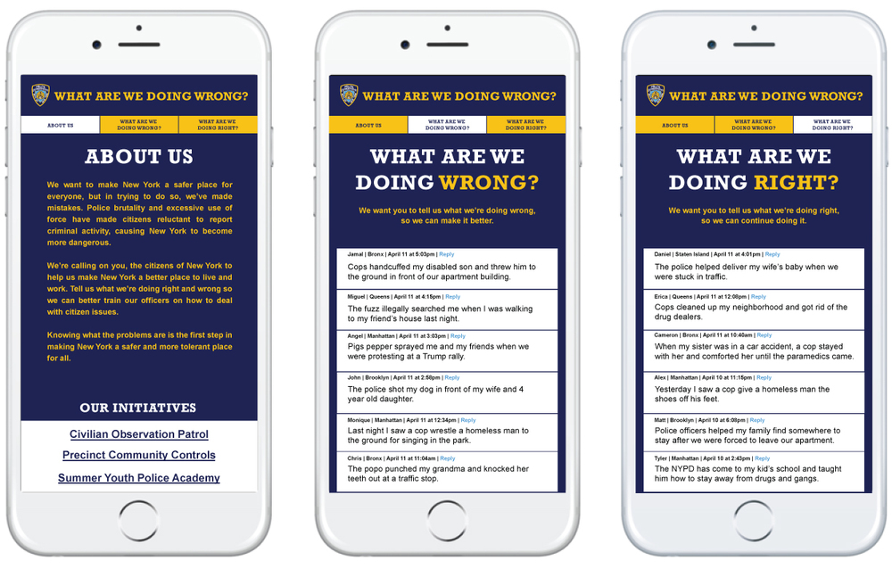 The mobile website whatarewedoingwrong.com will give New Yorkers a forum to talk about their issues with the NYPD.